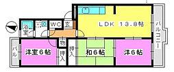 福岡県大野城市上大利4丁目の賃貸マンションの間取り