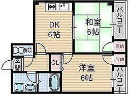 サンハイム東[2階]の間取り