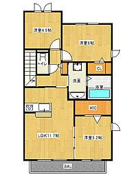 Osaka Metro谷町線 大日駅 徒歩13分の賃貸アパート 2階2SLDKの間取り