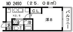 ビガーポリス118東田辺[702号室号室]の間取り