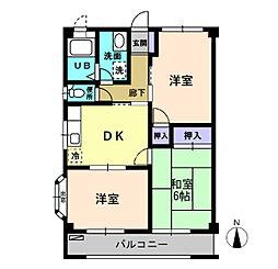 ファミール久野木I 3階3DKの間取り