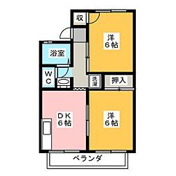 セジュールK2 南[2階]の間取り