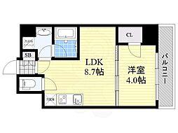 Osaka Metro御堂筋線 江坂駅 徒歩8分の賃貸マンション 8階1LDKの間取り