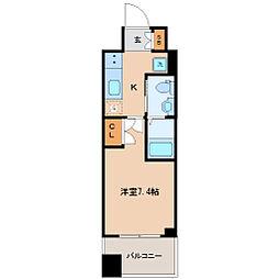 仙台市営南北線 勾当台公園駅 徒歩9分の賃貸マンション 5階1Kの間取り