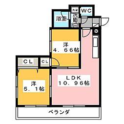 サウスコート[5階]の間取り