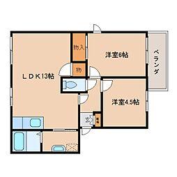 奈良県大和高田市築山の賃貸アパートの間取り