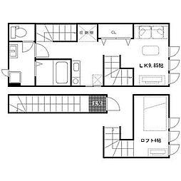 仙台市営南北線 北四番丁駅 徒歩12分の賃貸アパート 2階1Kの間取り