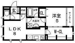 アパートメント玉串東[201号室号室]の間取り