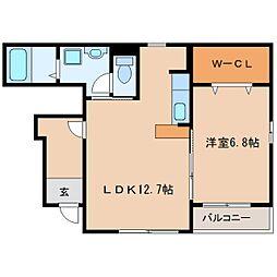 近鉄大阪線 桜井駅 徒歩13分の賃貸アパート 1階1LDKの間取り