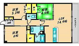 メイツブラン・ヴェリテ若江岩田 5階3LDKの間取り