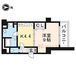 JR東海道・山陽本線 京都駅 徒歩9分の賃貸マンション 5階1Kの間取り