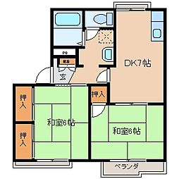 長野県岡谷市長地梨久保2丁目の賃貸アパートの間取り
