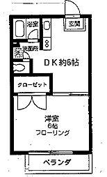 神奈川県相模原市南区相模大野1丁目の賃貸アパートの間取り