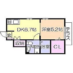 福岡県久留米市櫛原町の賃貸アパートの間取り
