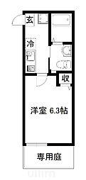近鉄京都線 東寺駅 徒歩2分の賃貸マンション 1階1Kの間取り