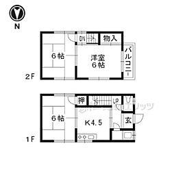 JR山陰本線 馬堀駅 徒歩21分の賃貸一戸建て 2階3DKの間取り
