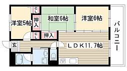 愛知県名古屋市守山区白山1丁目の賃貸マンションの間取り