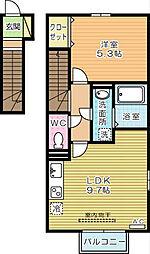 福岡県北九州市小倉南区葛原本町4丁目の賃貸アパートの間取り