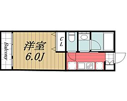 JR成田線 成田駅 徒歩17分の賃貸アパート 2階1Kの間取り