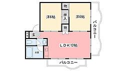 甲子園ローズハイツ[302号室]の間取り