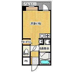 横山アネックスビル 3階ワンルームの間取り