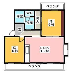 カターラ三清[3階]の間取り