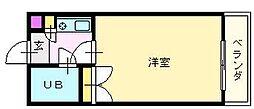 南海高野線 白鷺駅 徒歩5分の賃貸マンション 4階1Kの間取り