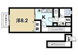 近鉄奈良線 近鉄奈良駅 バス6分 高畑町下車 徒歩2分の賃貸アパート 2階1Kの間取り