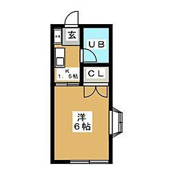 パペチェル横浜 2階1Kの間取り