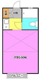 東京都東久留米市氷川台1丁目の賃貸アパートの間取り