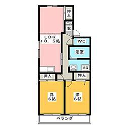 リバーサイドSUWA A棟[2階]の間取り