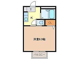 静岡県富士市岩本の賃貸アパートの間取り