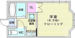 川内高角ハイツ 2階1Kの間取り