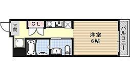 Suminagi御所西 2階1Kの間取り