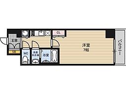 JR東西線 海老江駅 徒歩4分の賃貸マンション 15階1Kの間取り