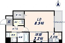 Osaka Metro千日前線 北巽駅 徒歩17分の賃貸マンション 8階1LDKの間取り