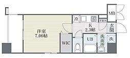 ザ・レジデンス博多 7階1Kの間取り