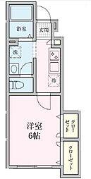 Sakura・A 1階1Kの間取り
