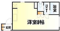仙台市地下鉄東西線 青葉通一番町駅 徒歩6分の賃貸マンション 2階ワンルームの間取り
