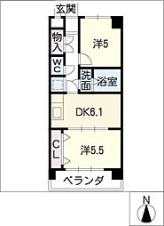 シュクル[4階]の間取り