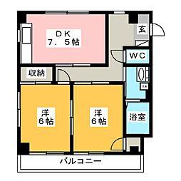 ルシールイワサキ[2階]の間取り