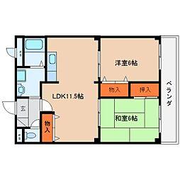 奈良県桜井市上之庄の賃貸マンションの間取り