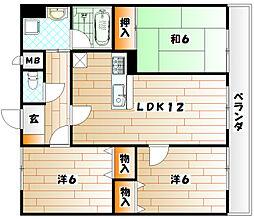 福岡県北九州市戸畑区浅生2丁目の賃貸マンションの間取り