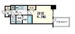 プレサンス心斎橋クオーレ 7階1Kの間取り