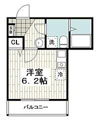 ヒルフロント鷹取 2階1Kの間取り
