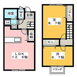 [テラスハウス] 静岡県磐田市上新屋 の賃貸【/】の間取り