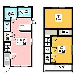 [テラスハウス] 静岡県掛川市緑ケ丘2丁目 の賃貸【/】の間取り