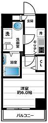グランヴァン横濱南 6階1Kの間取り