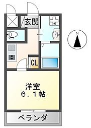 ARTEMIS東園田 1階1Kの間取り