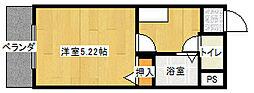 ENA阿波座西 9階1Kの間取り
